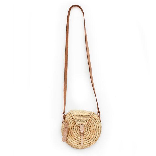 small natural straw raffia bag round Natural leather natural closure