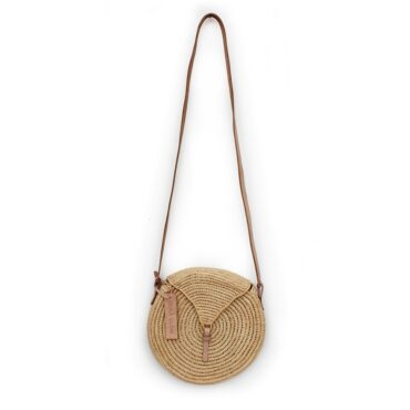 small natural straw raffia bag round triangle Natural leather natural closure