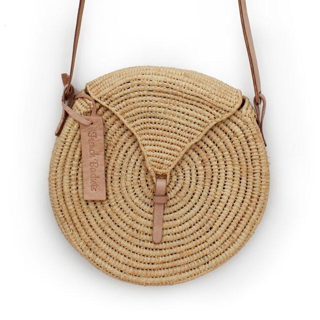 small natural straw raffia bag round triangle Natural leather natural closure
