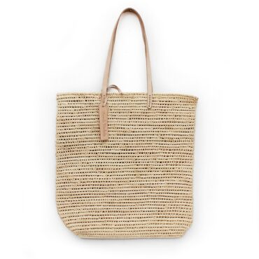 Tote bag made of raffia straw Natural color