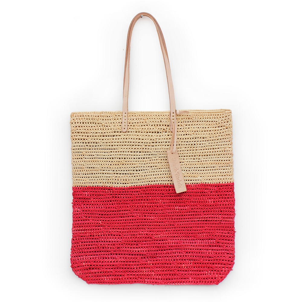 Tote bag made of raffia straw Natural and red color