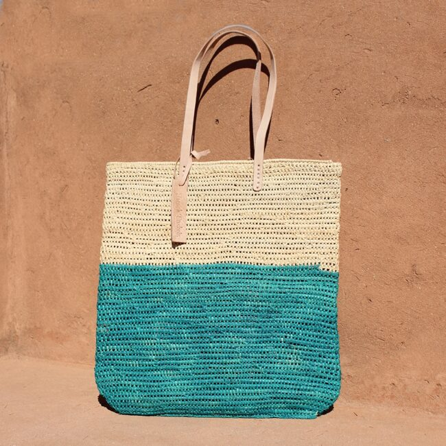 Tote bag made of raffia straw Natural and lagoon color French Baskets