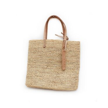 Medium Tote bag made of raffia straw Natural color