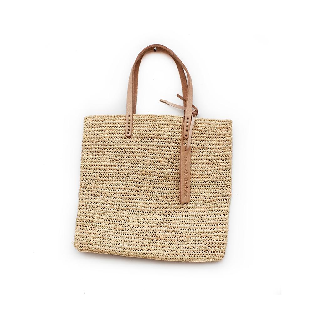 Medium Tote bag made of raffia straw Natural color