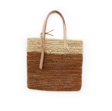 Medium Tote bag made of raffia straw Natural and brun color