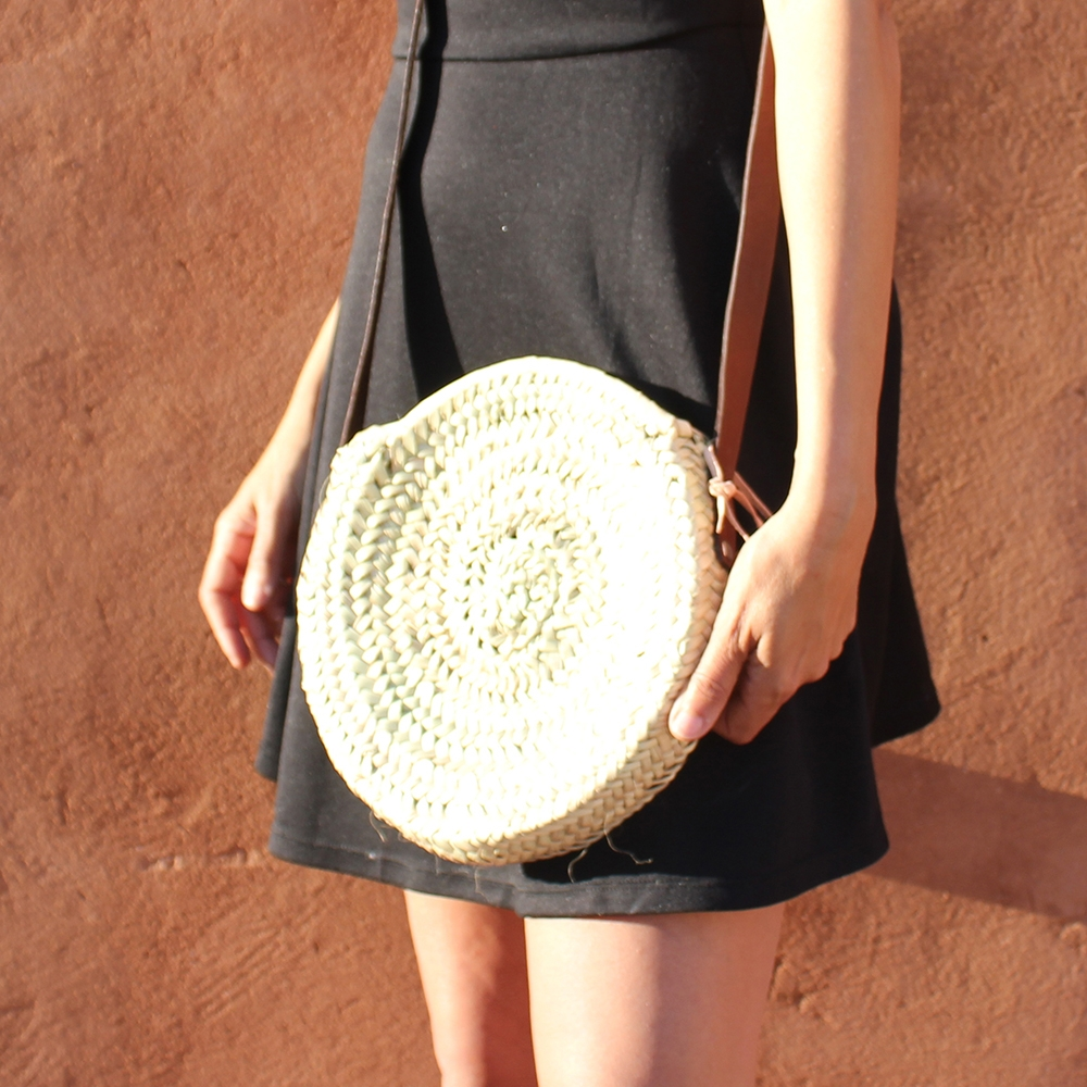 Mini basket round with leather Colors brun