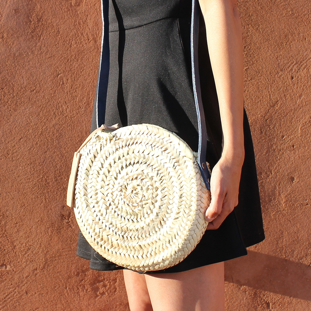 Mini basket round with leather Colors bleu