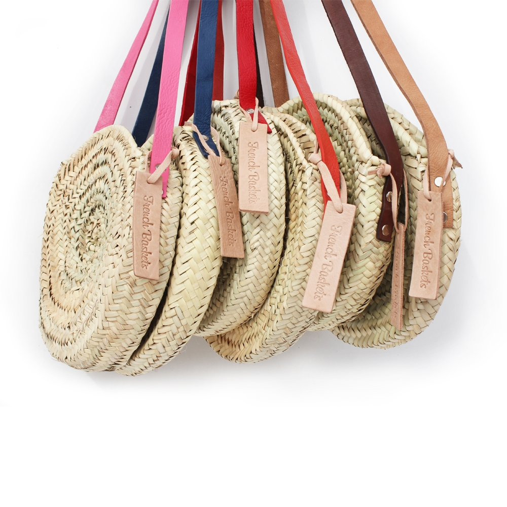 Mini basket round with leather Colors