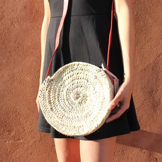Mini basket round with leather Colors red
