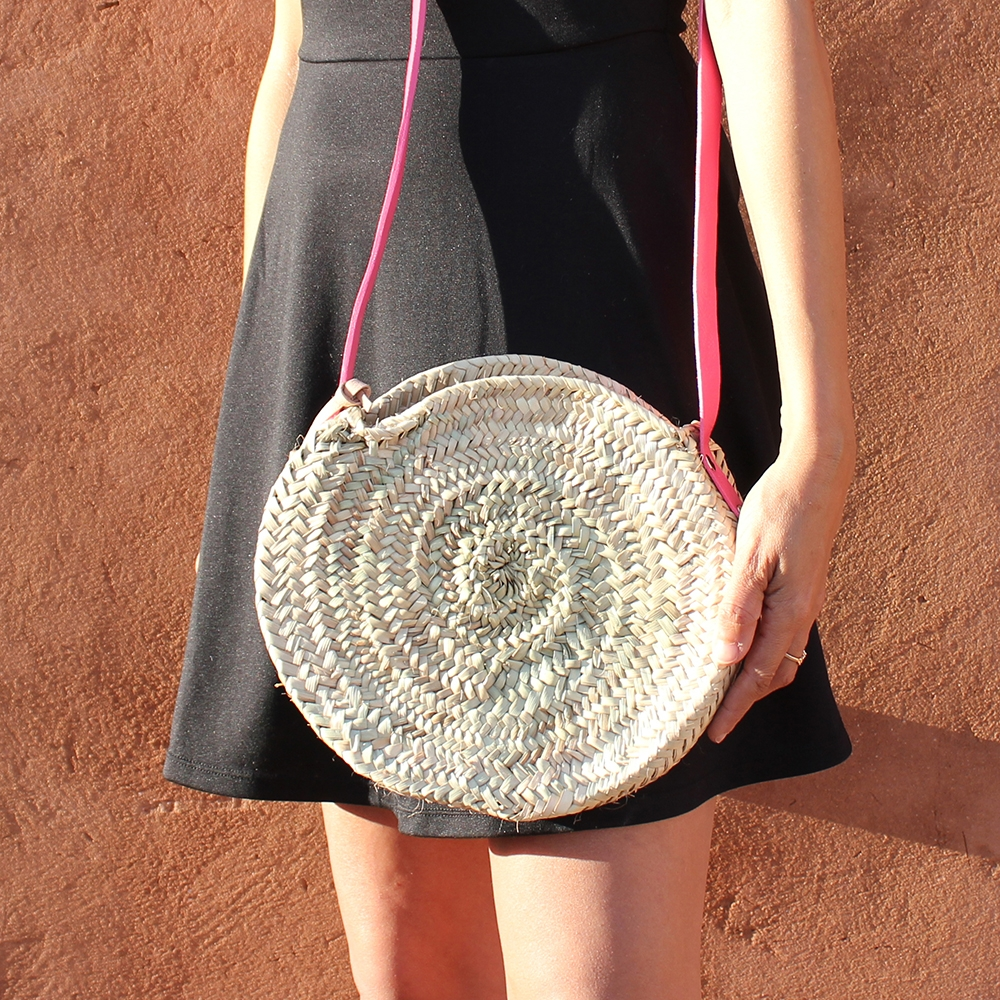 Mini basket round with leather Colors pink