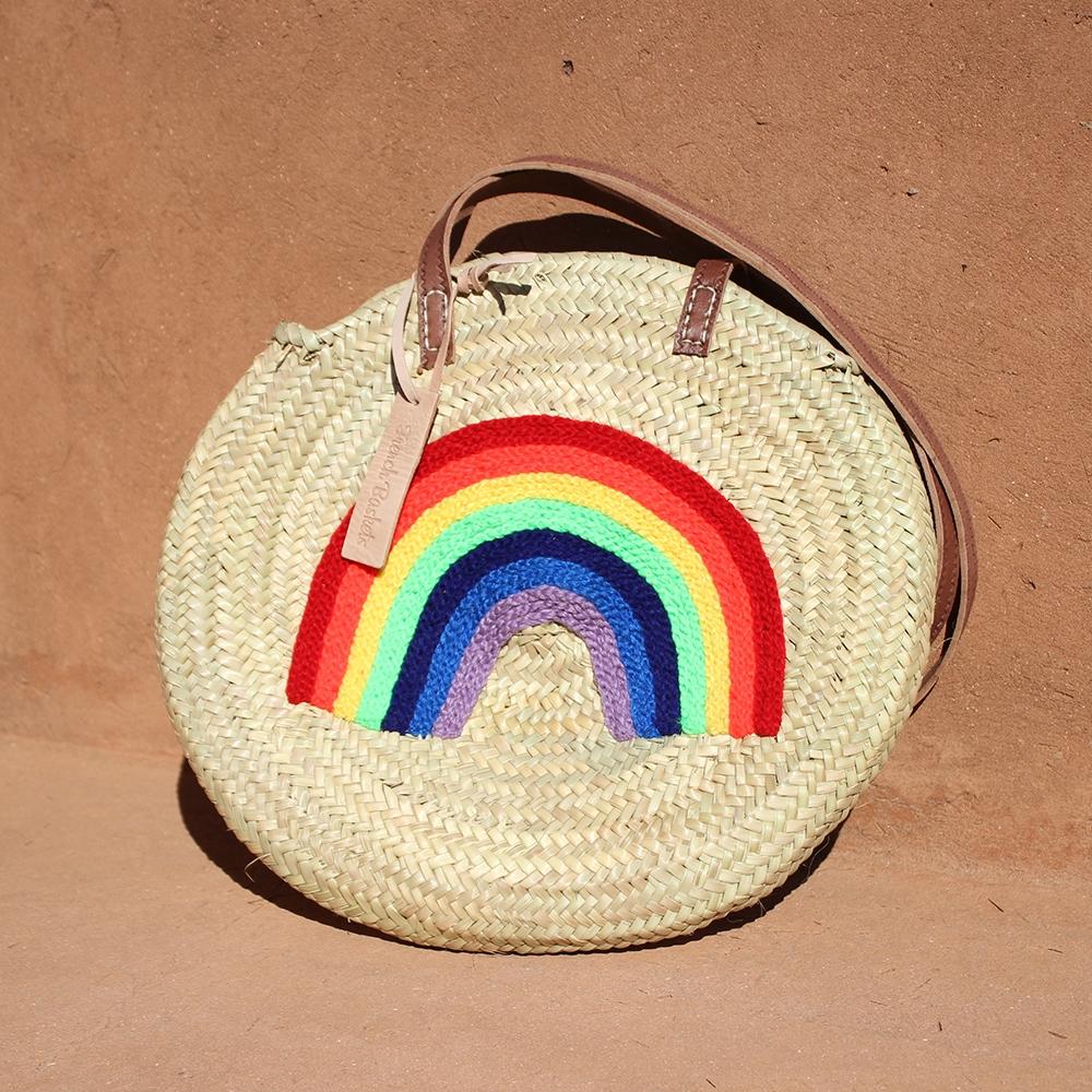 Round large wicker basket Rainbow