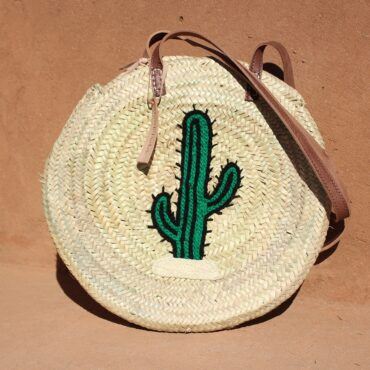 Round large wicker basket cactus