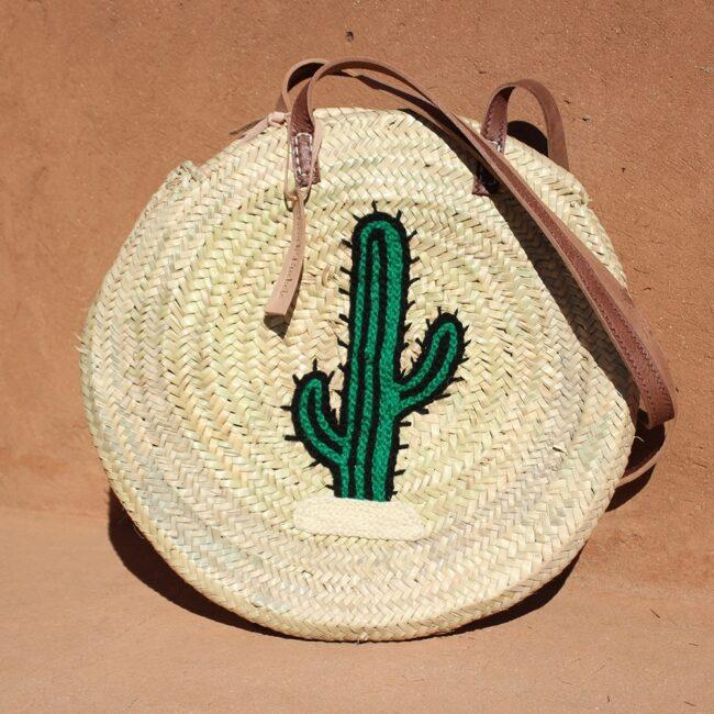 Round large wicker basket cactus