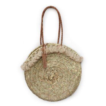 Round wicker basket long leather handle Pom pom beige