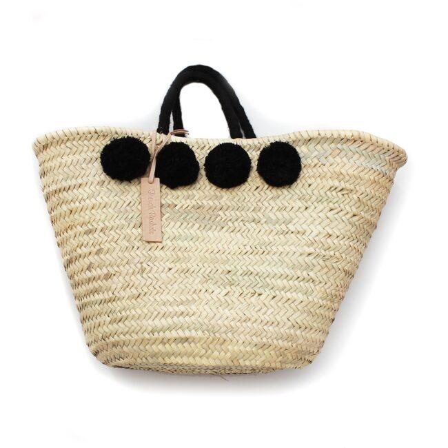 moroccan Basket wool 8 pom pom black