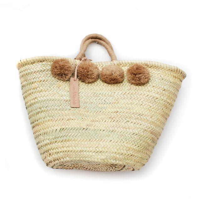 Straw Moroccan Basket wool 8 pom pom brun