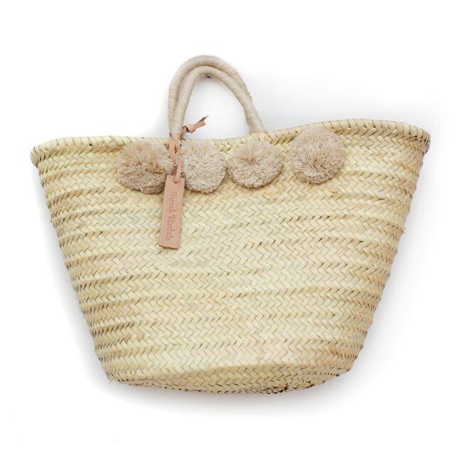 Straw Moroccan Basket wool 8 pom pom sand
