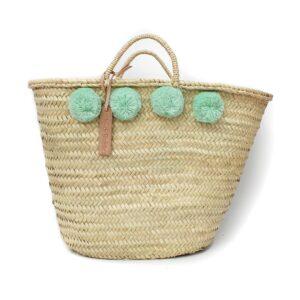 Straw Moroccan Basket wool 8 pom pom lagoon