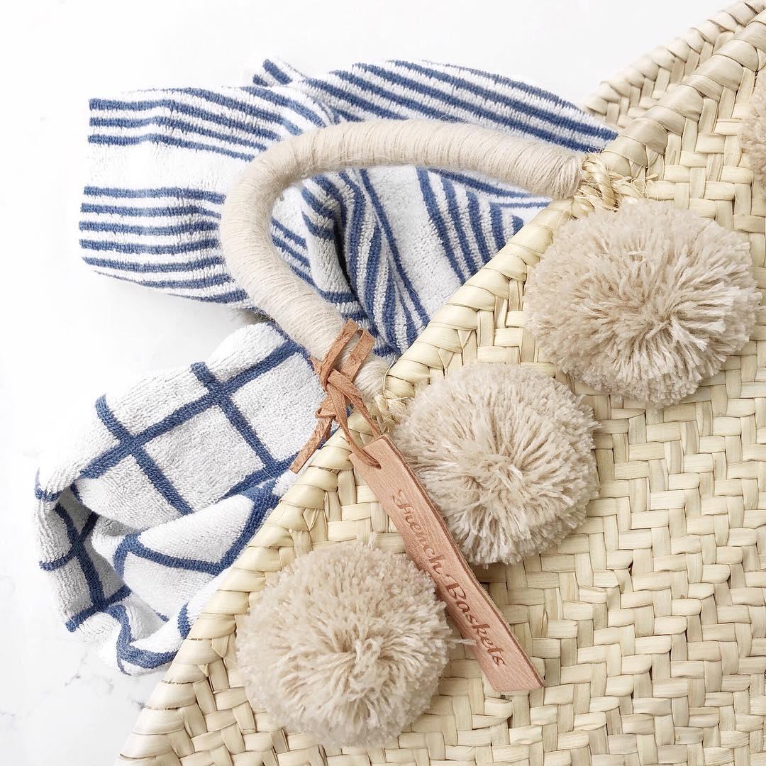 Natural Basket Beldi Small Pom Pom beige