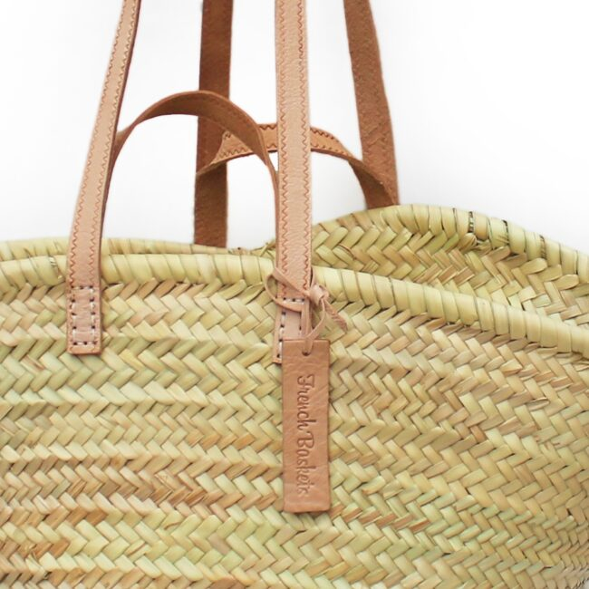 Natural Basket Flat Leather clear Handle Double