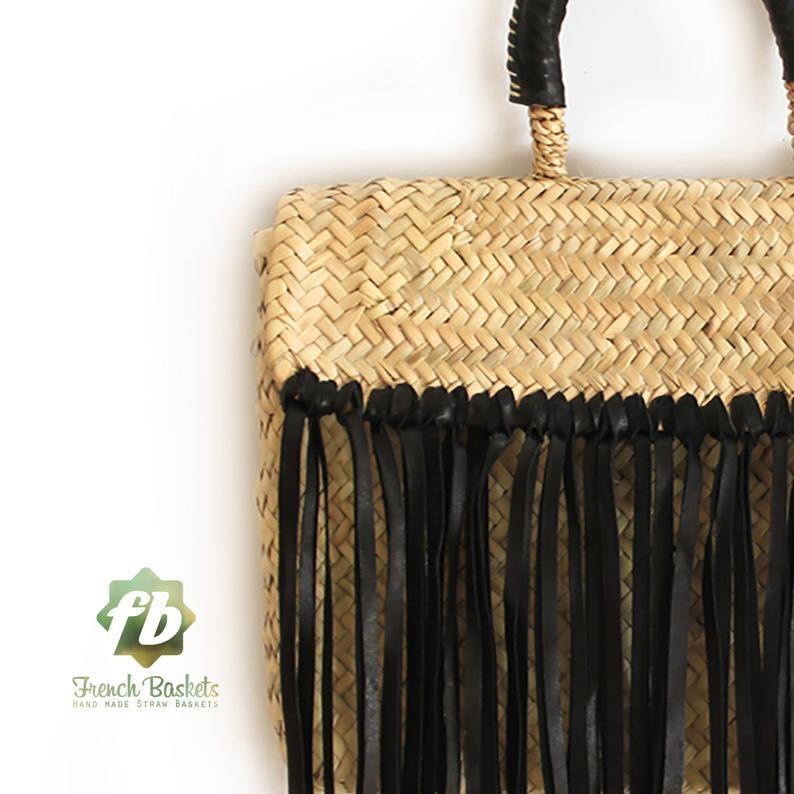 Miami Small Baskets black fringe leather
