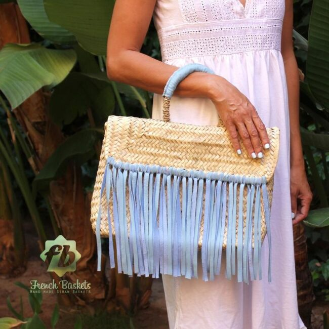 Miami Small Baskets blue fringe leather