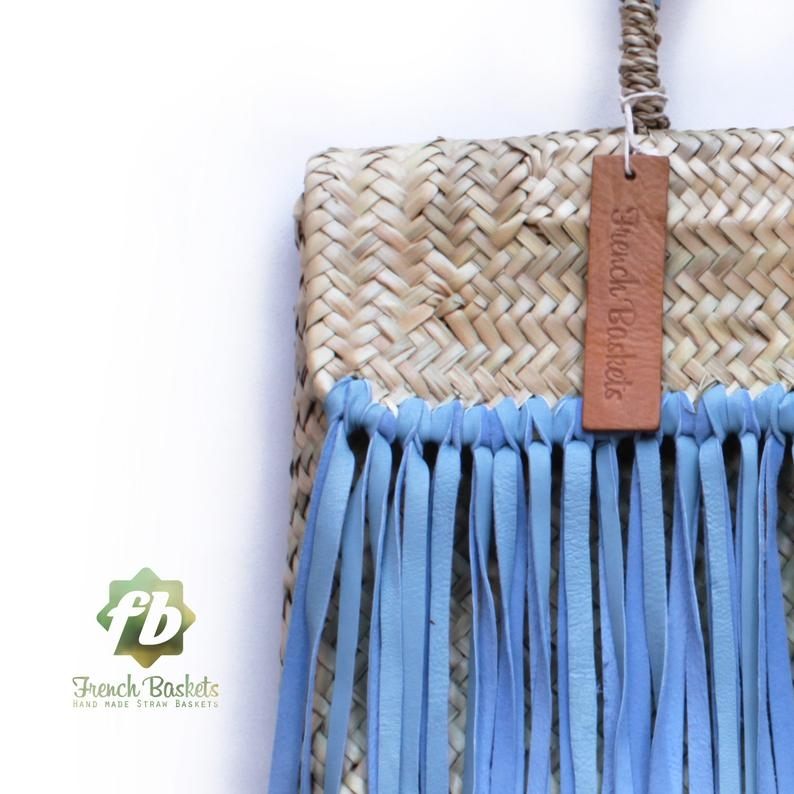 Miami Small Baskets blue fringe leather