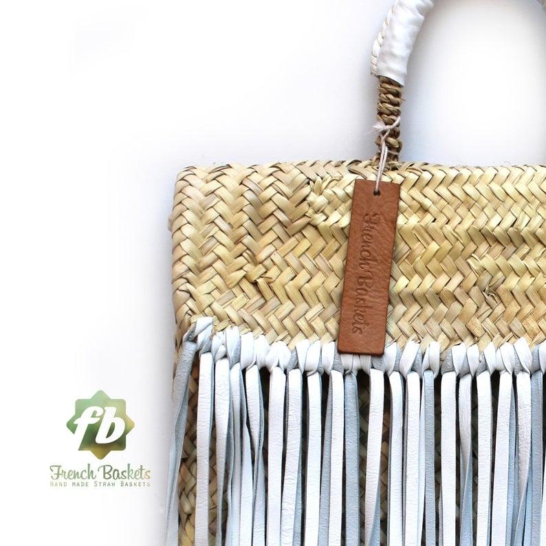 Miami Small Baskets white fringe leather