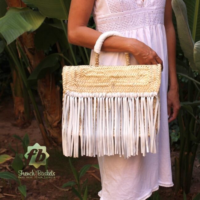 Miami Small Baskets white fringe leather