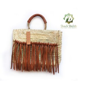 Miami Small Baskets Brown fringe leather