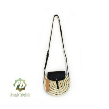 Crossbody Round straw bag Handmade wicker bag black natural Closure