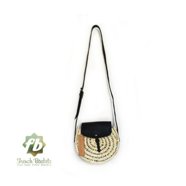 Crossbody Round straw bag Handmade wicker bag black natural Closure