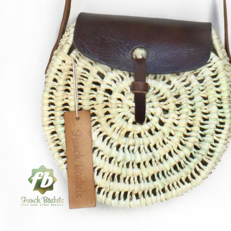 Crossbody Round straw bag Handmade wicker bag dark brown natural Closure