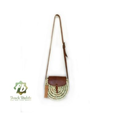 Crossbody Round straw bag Handmade wicker bag brown natural Closure