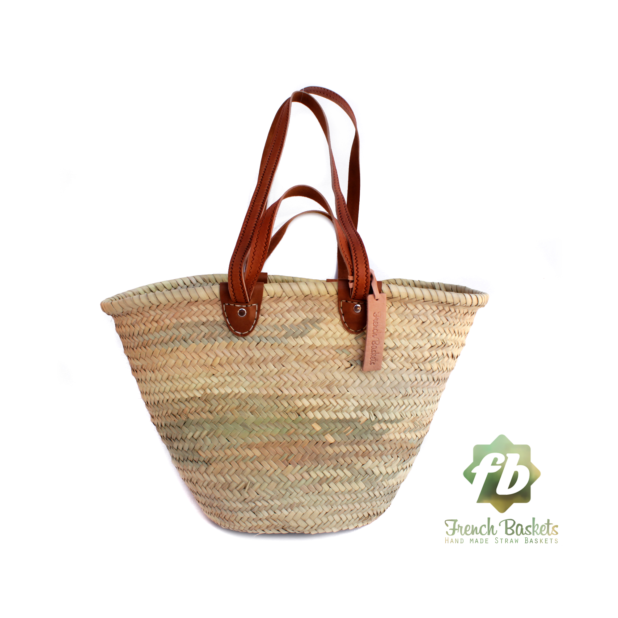 luxury straw French Baskets long Flat Leather Handle