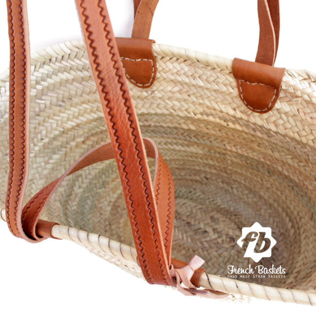 luxury Basket Flat Leather Handle Double