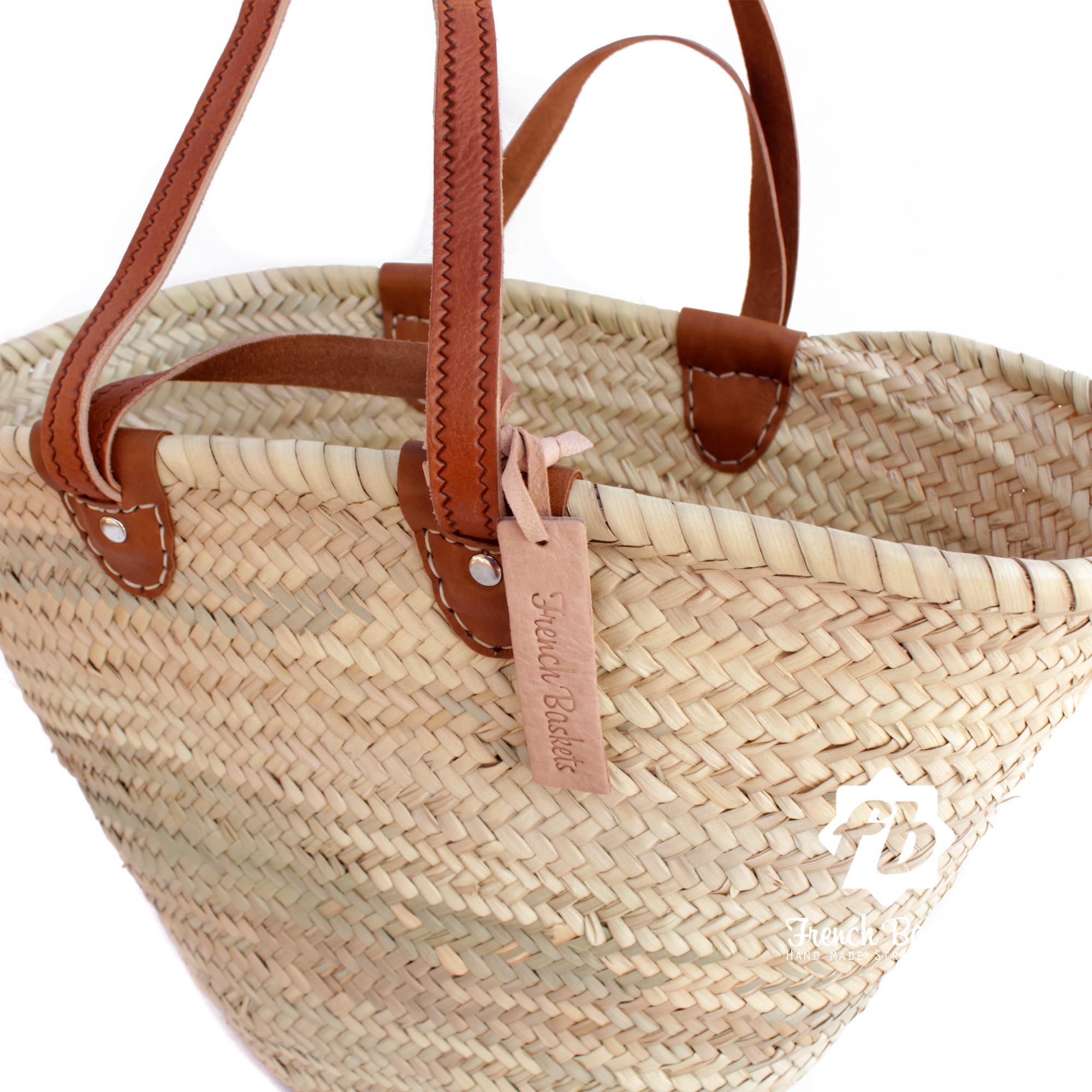 luxury Basket Flat Leather Handle Double