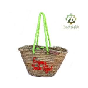 Personalized straw bag hand embroidered Free text