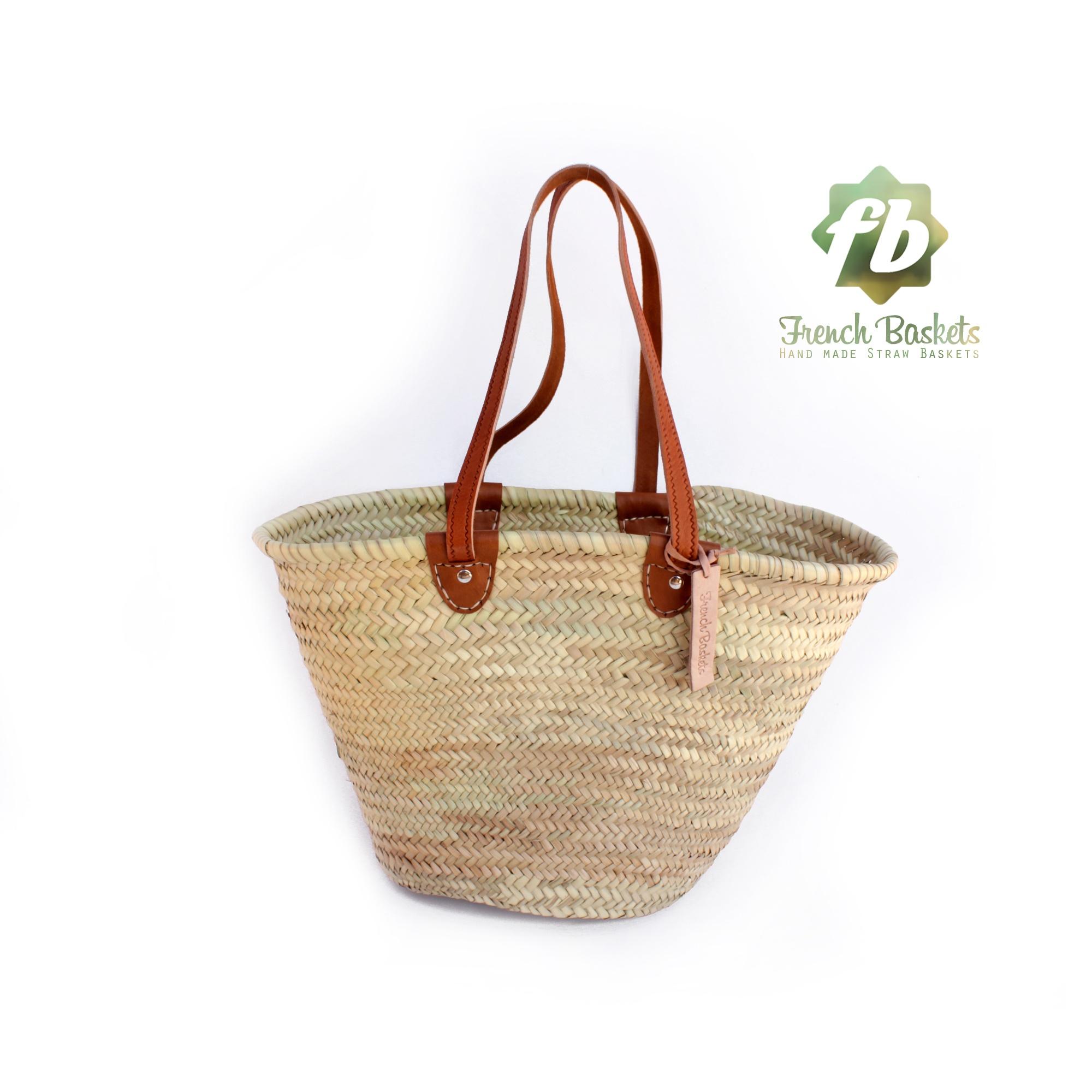 luxury straw bag Handmade French Basket - luxury Basket long Flat Leather Handle