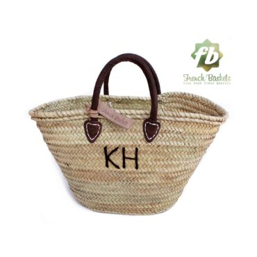 Customized straw bags Monogrammed French baskets Monogrammed