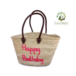 Customized straw bags French baskets Happy Birthday