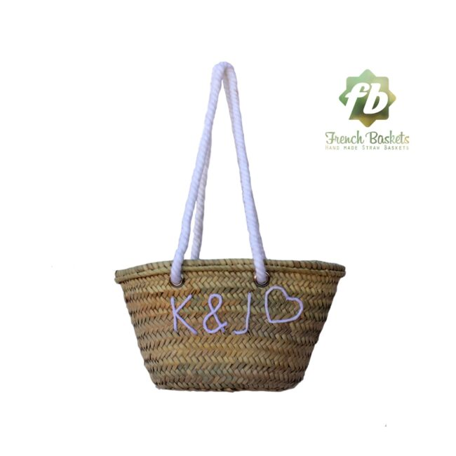Wedding gift Customized straw bags French baskets Monogrammed bag personalized