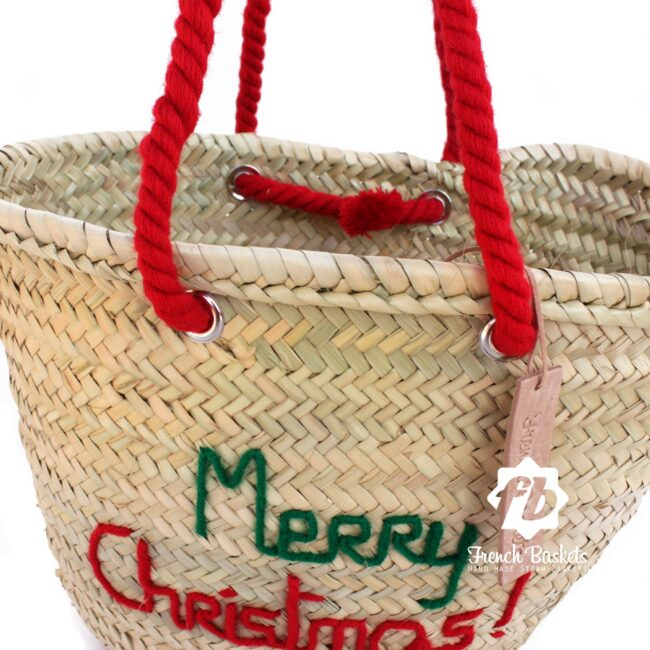 Christmas gifts Customized straw bags French baskets Christmas bag personalized
