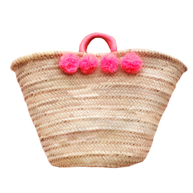 french baskets pom pom pink