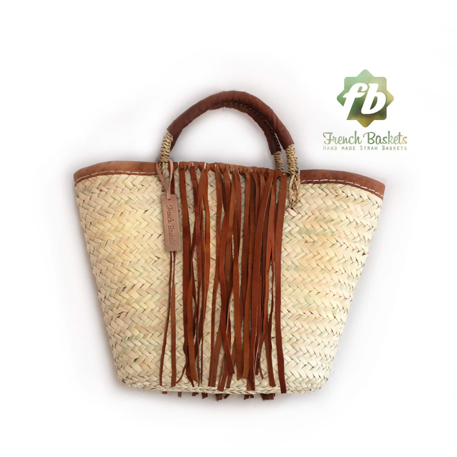 Small French Basket with Brown leather fringe