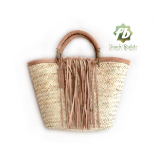 Small French Basket with natural leather fringe