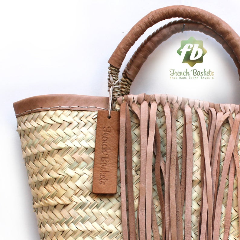 small french basket with natural leather
