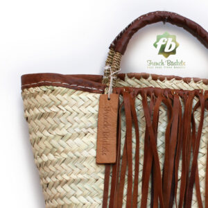 small french basket with Brown leather