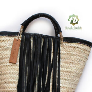 small french basket with black leather fringe