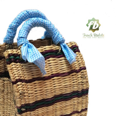 Straw handbag french baskets sky blue